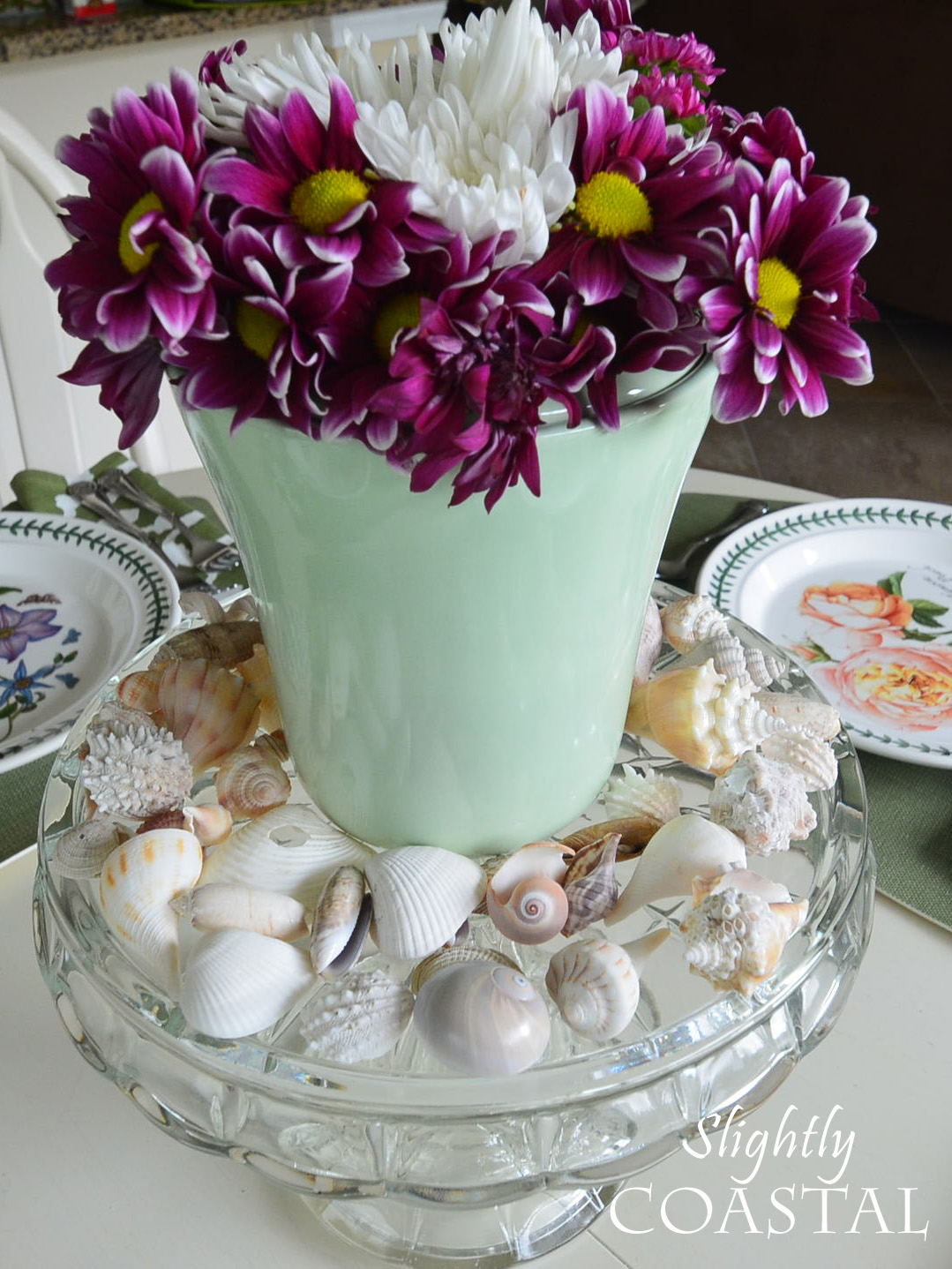 Seashell and Flower Centerpiece