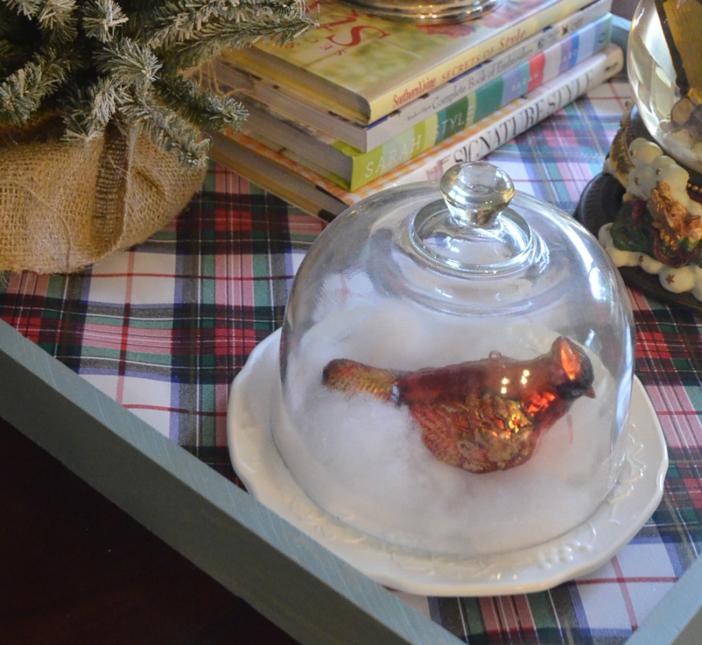 Slightly Coastal Christmas Coffee Table Vignette
