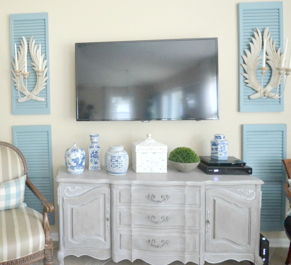 Sconces on Shutters with Chinoiserie